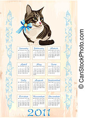 カレンダー, トラネコ, 2011, ねこ