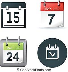 カレンダー, ベクトル, イラスト, アイコン