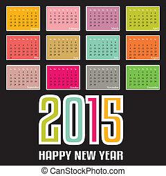 カレンダー, ベクトル, イラスト, 2015.
