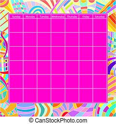 カレンダー, ベクトル, カラフルである, テンプレート