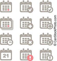 カレンダー, ベクトル, セット, アイコン