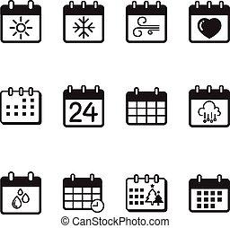 カレンダー, ベクトル, セット, イラスト, アイコン
