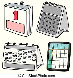 カレンダー, ベクトル, セット
