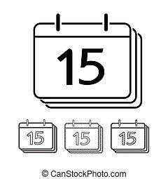 カレンダー, ベクトル, デザイン, イラスト, アイコン