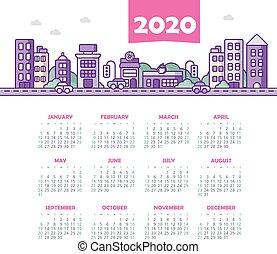 カレンダー, ベクトル, 日曜日, 週, 2020, year., 始める