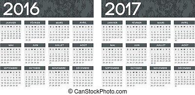 カレンダー, ベクトル, 灰色, フランス語