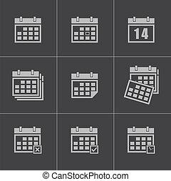 カレンダー, ベクトル, 黒, セット, アイコン