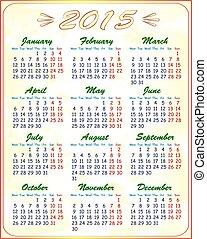 カレンダー, ベクトル, 2015, イラスト