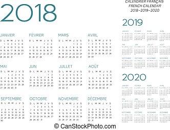 カレンダー, ベクトル, 2018-2019-2020, フランス語