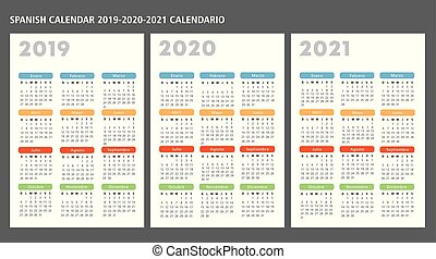 カレンダー, ベクトル, 2019-2020-2021, テンプレート, スペイン語