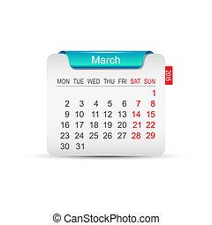 カレンダー, ベクトル, 3月, イラスト, 2015.