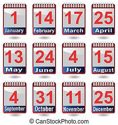 カレンダー, ベクトル, set., アイコン