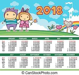 カレンダー, ベクトル, year., 2018