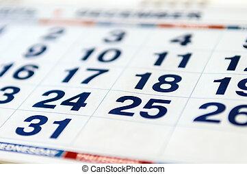 カレンダー, ページ, 月