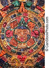 カレンダー, 典型的, maya, 有色人種, 粘土
