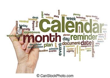 カレンダー, 単語, 雲