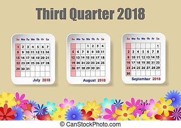カレンダー, 四分の一, 2018, 第3, 年