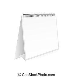 カレンダー, 。, 壁, mock, spring., illustration., ブランク, ベクトル, 株