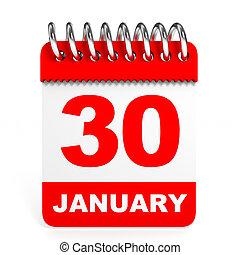 カレンダー, 白, バックグラウンド。, 30, january.