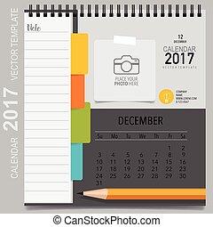 カレンダー, 立案者, december., マンスリー, ベクトル, テンプレート, 2017, デザイン