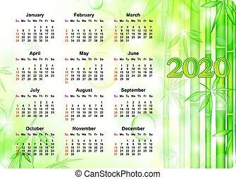 カレンダー, 竹, 2020, 背景, 年報, 木