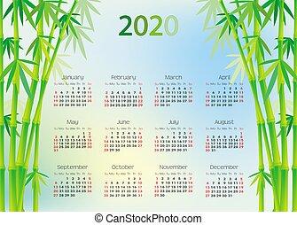 カレンダー, 竹, 2020, 背景, 木