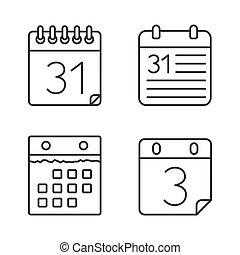 カレンダー, 線, アイコン