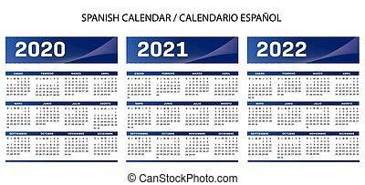 カレンダー, 青, スペイン語, 2020-2021-2022, ベクトル