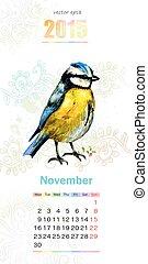 カレンダー, 11 月, 2015.