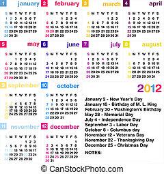 カレンダー, 2012
