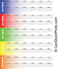 カレンダー, 2012-2016, five-year