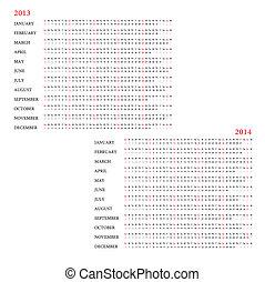 カレンダー, 2013-2014, テンプレート