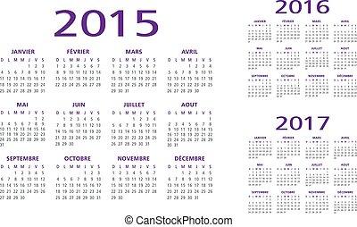 カレンダー, 2015-2016-2017, フランス語