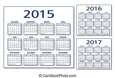 カレンダー, 2015-2016-2017, vec, 英語