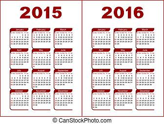 カレンダー, 2015, 2016