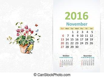 カレンダー, 2016, 11 月