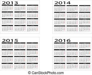 カレンダー, 2016, 2013