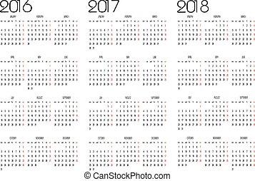 カレンダー, 2016, 2017, 2018