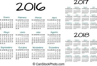 カレンダー, 2016-2017-2018, スペイン語