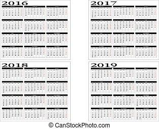 カレンダー, 2016, 2019