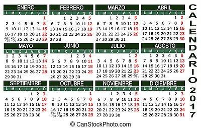 カレンダー, 2017, スペイン語