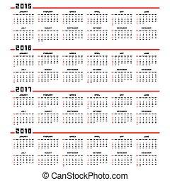 カレンダー, 2017, 2016, 2015, 2018