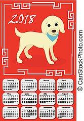 カレンダー, 2018, 中に, ∥, アジア, スタイル, ∥で∥, 犬, そして, 中国語, frame., 週, 始める, から, monday., テンプレート, ∥ために∥, あなたの, デザイン, 上に, a, 赤, バックグラウンド。, 中国の新年, concept., ベクトル, illustration.