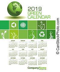 カレンダー, 2019, 緑, 優雅である