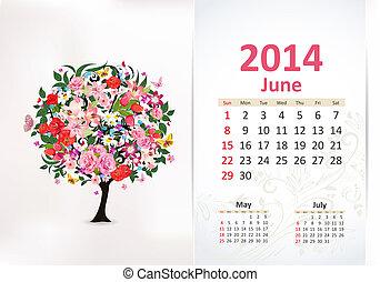 カレンダー, 6月, 2014