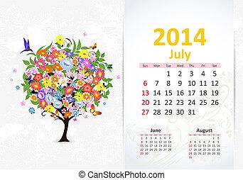 カレンダー, 7月, 2014