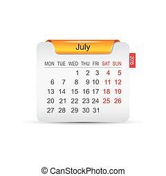 カレンダー, 7月, vector., 2015.