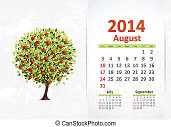 カレンダー, 8月, 2014