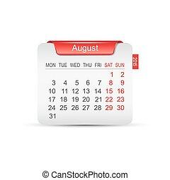 カレンダー, 8月, vector., 2015.