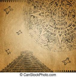 カレンダー, mayan, ピラミッド